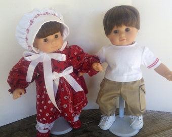 "American Girl 15 ""Bitty Twins Doll Clothing -  Boy and Girl Red Bandana Print Dress with Bonnet and Khaki  Outfits"