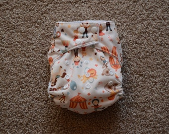 One Size Circus Cloth Diaper