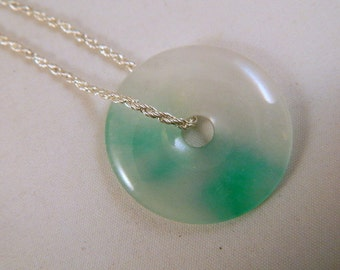 Sterling Silver and Jade Pendant / Vintage Gemstone Pendant Necklace / Two Toned White and Green Jade Drop Pendant Necklace