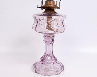 Antique Sun Purple Glass Oil Lamp Eagle Kerosene Lamp Lavender Glass Humingbird Design Embossed Floral Brass Burner RARE Amethyst Hurricane