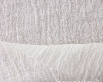 White Pure Linen Fabric, Gauze Creases Fold fabric,Transparent Linen Fabric- 1/2 yard (QT658)