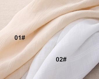Jacquard Weave Pure Linen Fabric, Gingham Jacquard fabric, Summer Light Weight Linen Fabric- 1/2 yard (QT780)