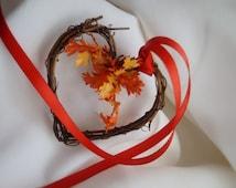 Rustic Vine Hearts, Fall Wedding Pew Decor, Bride Showers