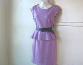 Cute Lavender Purple Knit Dress; Medium - Knit Purple Dress - Purple Church Dress/Career Dress; New-Old Stock with Tags