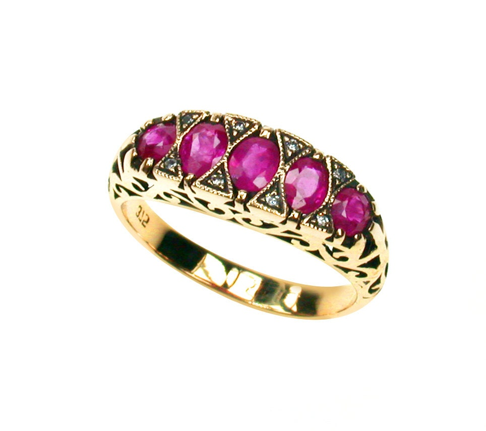 ruby ring with diamonds womens vintage ruby ring 9ct 9k