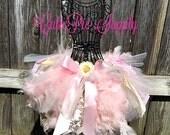 Feather Dance Tutu Skirt Jumble Feather Dress Pageant Toddler Tutu - Pink / Gold / White Feather Birthday Cake Smash Scrap Rag Vintage Dress