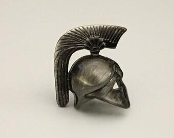 Roman Gladiator Tie Pin, Battle Helmet Lapel Pin, War Tie Tack, Wedding Tie Pin, Father's Day