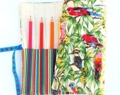 Pencil Roll Australian Birds - Holds 12 Pencils / Crayons / Brushes / Pens / Hooks