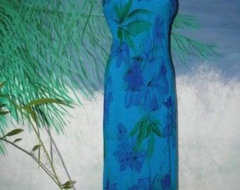 HUGE 60% OFF Vintage  Jessica Howard Blue & Green Long Maxi Bias Cut Dress, Floral Watercolor,  Slinky, Maxi, sz S