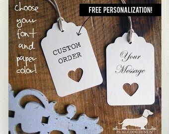 Ivory Open Heart. Personalized Gift Tags (Set of 12) -- (Simple, Choose Your Color, Bridal Shower, Wedding Favor Tags, Free Personalization)