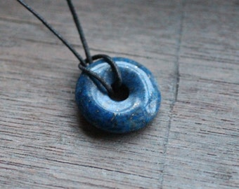 Lapis Lazuli Pi Stone 25mm Donut with Cord S93