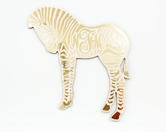 "The ""Baby Zebra in Gold"" Monogranimal wall hanging from LeLuni"