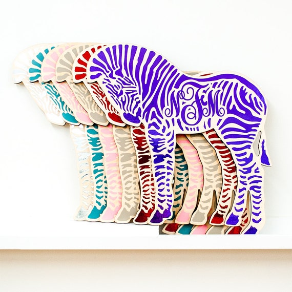 "The ""Baby Zebra"" Monogranimal wall hanging from LeLuni"