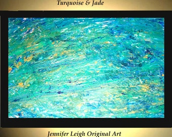 Original Large Abstract Painting Modern Acrylic Painting Oil Painting Canvas Art TURQUOISE & JADE Gold 36x24 Textured Wall Art  J.LEIGH