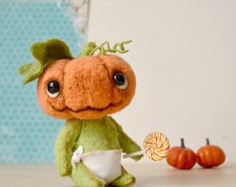 SALE!!! Baby Pumpkin - ooak 6,3 inch artist doll
