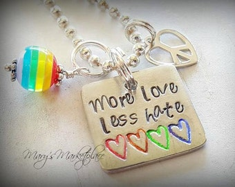 More Love Less Hate Hand Stamped Necklace Set