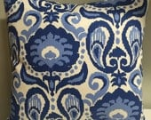 Ikat Blue Pillow Cover, Throw Pillow, Blue Accent Pillow, Home Decor -Free US Shipping-Golding Fabrics Grand Home Decor Fabric