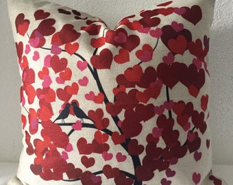 Single Pillow Cover 18x18 inch  - Lovebirds, Tree, Hearts