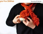 CHRISTMAS SALE Fox scarf, gift for kids and teens, children toddler wool crochet cowl, winter accessories, cozy ginger red