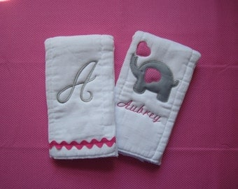 set of 2 pink and gray elephant burp cloths