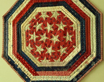 QUILTED Stars and Stripes AMERICANA PATRIOTIC Octagon table runner, candle mat for Patriotic Home Decor'