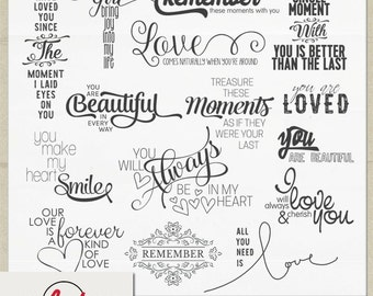 Digital and Printable Overlay Word Set Art - Instant Download - All You Need is Love