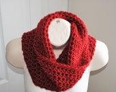 lipstick red crochet chunky infinity cowl 100% pure wool