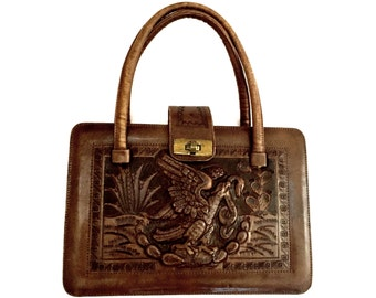 Vintage Handtooled Leather Mexican Tote