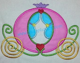Princess Designs Princess Carriage Applique Princess Coach Design Embroidery Applique 4x4, 5x7, 6x10 hoops - Instant Download