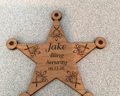 Personalized laser engraved Ring Bearer badge