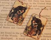 Krampus earrings mixed media jewelry Christmas Jewelry