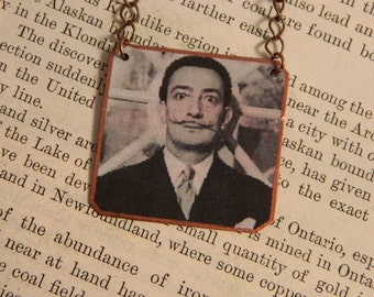 Salvadore Dali necklace Art jewelry art necklace mixed media jewelry