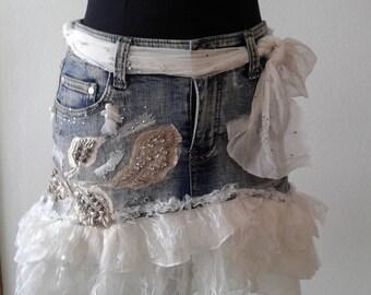 Upcycled jeans denim skirt,Denim mini skirt, recycled clothing