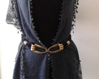 Blue  and gold  cord  belt, retro belt, preppy style,cord belt, goldtone buckle
