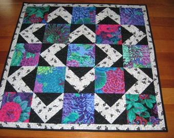Quilted Table Topper, Contemporary Kaffe Fassett Brights with Black & White Alternate Block