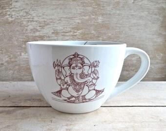 Ganesh Lotus Namaste Mug, 18 oz Coffee Cup, Big Cappuccino Mug, Peaceful Soup Mug,  Lotus Asana Meditation, Ganessa, Ganesha,Ready to Ship