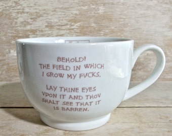 Medieval Tapestry Parody Mug, Garden of F*cks, Tudor, Middle Ages, Dark Ages, Coffee Cup, Mature Humor, 20 oz, Ready to Ship