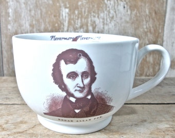 Edgar Allan Poe Inspired Mug, DISCOUNTED SECOND,  Nevermore Raven, Books, Poetry, 18 oz Recycled Porcelain Coffee Cup, Ready to Ship