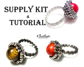 Wire Ring Tutorial and Supply Kit for Crafting Wire Wrap Tutorial and Materials Wire Jewelry Tutorial Ring Tutorial Ring Jewelry Supply Kit