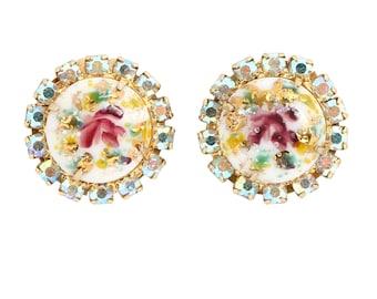 Juliana D&E Limoge Art Glass  Rhinestone Earrings