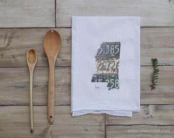 Mississippi Home Tea Towel   Vintage License Plate Art   Mississippi State Outline Art   Kitchen Decor