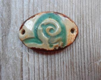 ceramic bracelet focal bead   turquoise heart   mediterranean color scheme