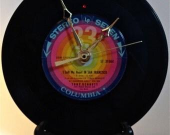 """Recycled TONY BENNETT 7"""" Record / (I Left My Heart In) San Francisco / Record Clock"""