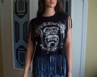 Upcycled Gas Monkey T-Shirt With Fringe, Shredded Handmade Festival Tee, Adult Size Medium, 100% Cotton Recycled T-Shirt