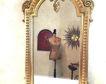 Vintage Louis XVI Style Mirror Gilded Gold Goddess Made in SPAIN