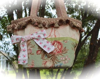 Whimsical Boho Market Bag Blossoms and Sage Wood Bottom Lined Shabby Chic Unique
