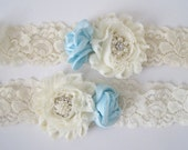 Something Blue Romantic Rose Flower Bridal Wedding Garter Set with Pearl and Rhinestone Accents