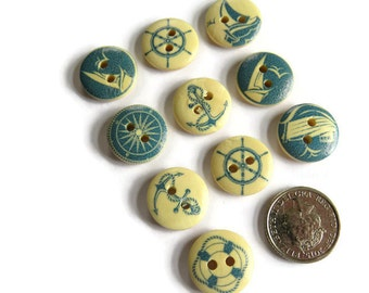 10 x Assorted Maritime Patterned Buttons - 15mm Wooden Buttons - Assorted 15mm Buttons