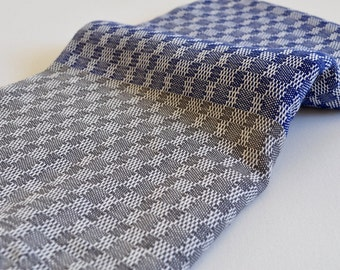 Turkish Towel Peshtemal towel in blue and grey color Cotton hand loomed soft