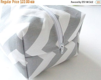 CHRISTMAS In JULY SALE Grey Chevron Makeup Bag  - Cosmetic Pouch -  Lunch Bag - Wet Bag -Waterproof Bag